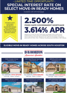 Special Interest Rate for a Limited Time on Select Completed Homes South of I-10!