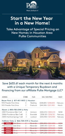 Special Pricing on New Homes in Houston Area Pulte Communities!