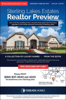 Sterling Lakes Estates Agent Preview - Enjoy A Catered Lunch, Limited Time Only Specials & Win Door