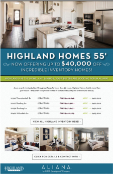 Up to $40K off Highland Homes in Aliana!