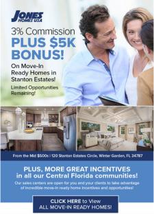 3% Commission PLUS 5K Bonus at Jones Homes USA!