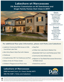 5% Agent Commission at Lakeshore Narcoossee!*