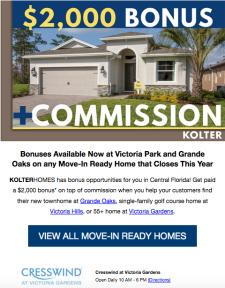 Bonus + Commission from KOLTERHOMES