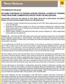 KB Home Continues to Expand Across Central Florida!