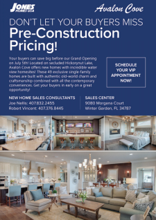 Pre-Grand Opening Pricing at Avalon Cove in Winter Garden!