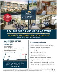 Rescheduled - Oviedo Park Terrace VIP Grand Opening!