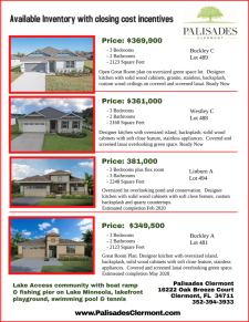 View Our Available Inventory With Closing Cost Incentives