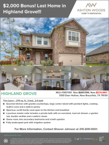 $2,000 Bonus on Last Home Remaining in Highland Grove!