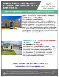 $2,000 Bonus on These Beautiful Homes at Waterford Park