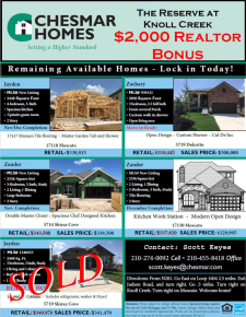 $2,000 Bonus on These Remaining Homes at The Reserve at Knoll Creek