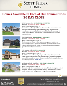 30 Day Close - Available Homes in Each of Our Communities!