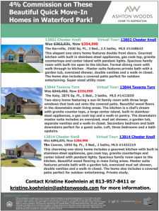 4% Commission on these Beautiful Waterford Park Quick Move-In Homes