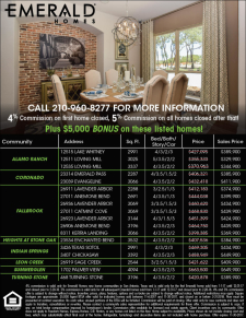 4% Commission plus $5,000 bonus on these Emerald Homes