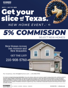 5% Commission on Select New Homes in San Antonio & New Braunfels!