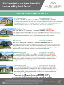 5% Commission on These Beautiful Homes in Highland Grove!