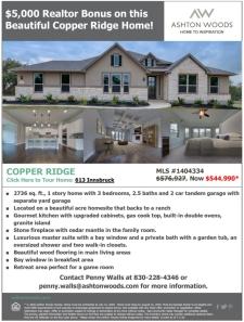 $5,000 Agent Bonus For This Beautiful Home in Copper Ridge!
