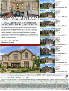 6% Commission on ALL Homes Sold In September at The Preserve at Indian Springs!