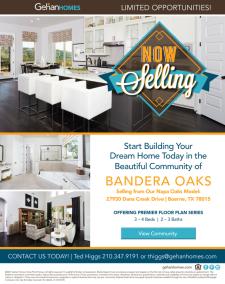 Bandera Oaks is Now Selling!