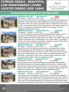 Beautiful Homes Available in Cypress Trails!