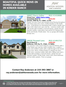 Beautiful Quick Move-In Homes Available in Kinder Ranch!