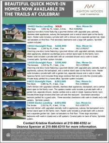 Beautiful Quick Move-In Homes Now Available in The Trails at Culebra!