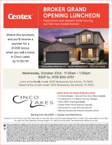 Broker Grand Opening at Cinco Lakes | Wednesday Oct. 23rd | 11:30 AM - 1:00 PM