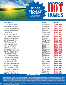 AGENTS!  $2,000 Bonus on ALL Homes Sold by 9/30/17*