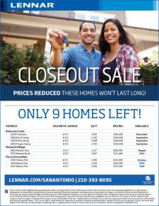 Closeout Sale! Only 9 homes left!