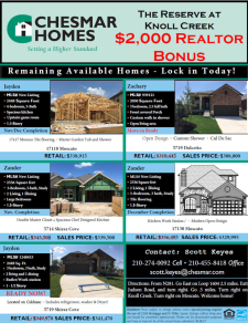 Earn a $2,000 Agent Bonus on These Homes at The Reserve at Knoll Creek