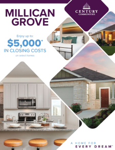 Enjoy up to $5,000 in Closing Costs on Select Homes in Millican Grove!