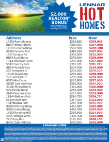 Hot Homes Sale!  Agents Get a $2,000 Bonus on ALL Homes that Close by 11/17*
