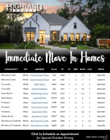 Immediate Move In Highland Homes Available