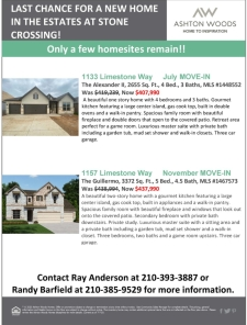 Last Chance for a New Home in the Estates at Stone Crossing!
