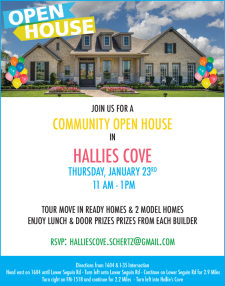 Lunch & Door Prizes at Hallie's Cove Community Open House!