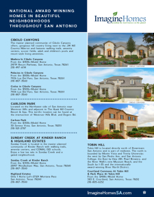 National Award Winning Homes in Beautiful Neighborhoods Throughout San Antonio!