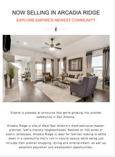 Now Selling in Arcadia Ridge - Explore Empire's Newest Community!