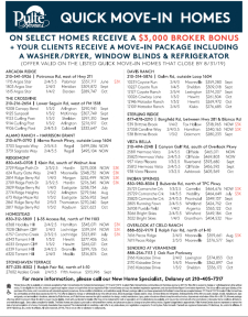 Quick Move-In Homes, Bonuses* and Move-In Packages!*