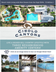 Resort-style Living with New Homes from the High $200s - $1 Million + at Cibolo Canyons