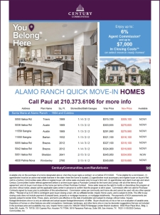 Santa Maria in Alamo Ranch has Up to 6% Agent Commissions!