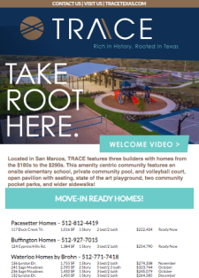 TRACE in San Marcos- Amenities, QMIs and on site Elementary! From $180s