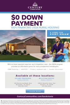 USDA Financing and $0 Down Payment at Solms Preserve and Millican Grove!