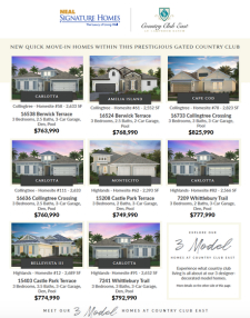 Country Club East at Lakewood Ranch Quick Move-In Homes!