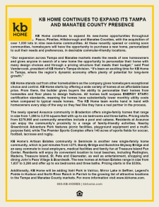 KB Home Continues to Expand Its Tampa and Manatee County Presence