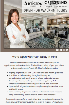 Kolter Homes Communities are Open for Walk-In Guests