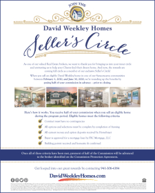 Receive 50% of your commission up front with David Weekley Homes in Sarasota!