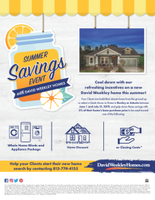 David Weekley Homes Summer Savings Event in Asturia and Bexley