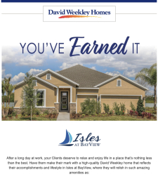 David Weekley Homes is Now Selling in Isles at BayView