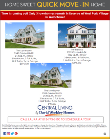 Final Close out! David Weekley Homes in Reserve at West Park Village