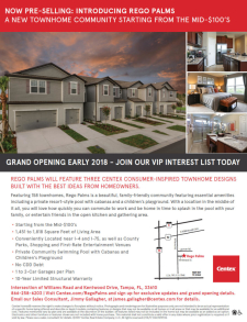 New Townhomes at Centex Rego Palms in Tampa Now Pre-Selling