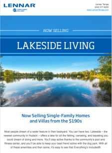 Now Selling Lakeside Living